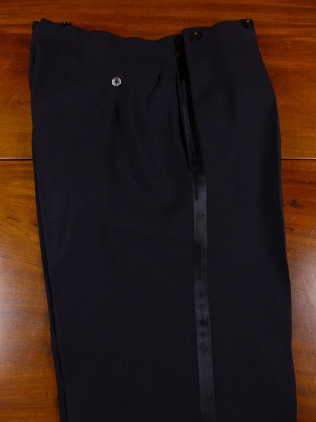 17/0702 vintage bernard weatherill savile row bespoke black herringbone wool evening trouser 34 short regular