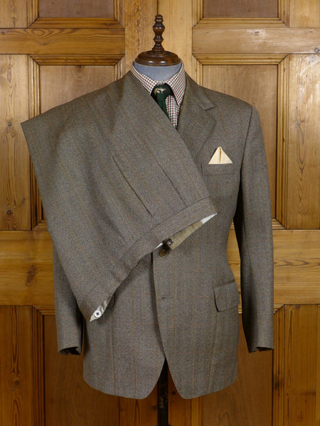 17/0717 vintage 1988 savile row bespoke brown wp check twist wool 3-piece town & country suit 43 short to regular