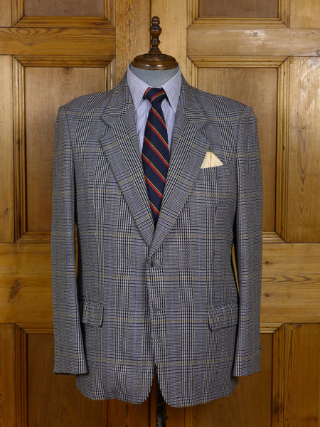 17/0722 vintage bobbys hong kong tailored grey glen check tweed sports jacket 44 regular