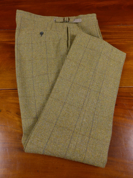 17/0726 (pt) superb vintage bespoke tailored green wp check high-rise heavyweight tweed trouser 40 regular long