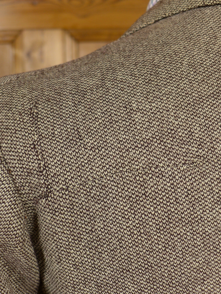 17/0727 (pt) vintage 1955 jermyn street bespoke brown barleycorn weave heavyweight tweed suit 43 regular to long