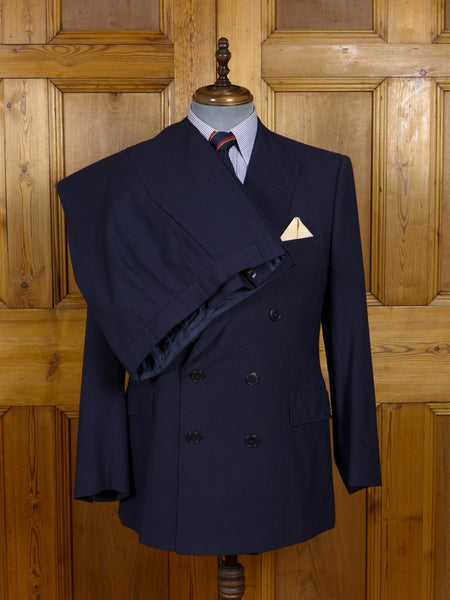 17/0812 (pt) vintage city of london bespoke tailored blue wool & mohair d/b suit w/ red linings 41 regular