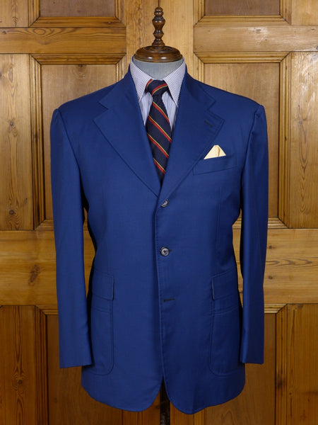 17/0808 (dc) spirito uomo designer luxury superfine blue wool sports jacket blazer 42 short to regular