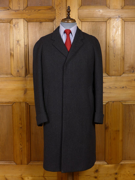 17/0817 immaculate 1950s 1960s london vintage heavyweight charcoal grey herringbone overcoat 42-43 regular to long