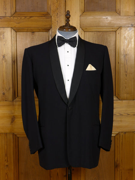 17/0818 vintage savile row bespoke black herringbone wool / grosgrain shawl dinner jacket 44-45 regular to long