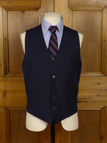 17/0822 vintage dark blue pin-stripe wool worsted waistcoat 38-39 regular to long