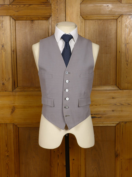 17/0823 wonderful 1950s 1960s vintage hawkes savile row dove grey / black & white polka dot morning waistcoat 37-38 short to regular