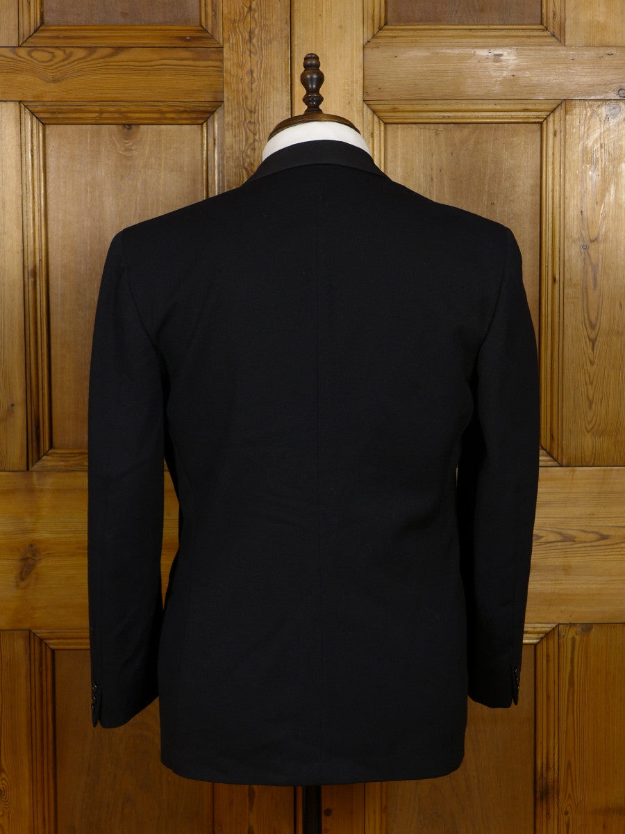 17/0850 (pt) vintage 1966 daks black barathea wool / grosgrain shawl dinner suit 40 short