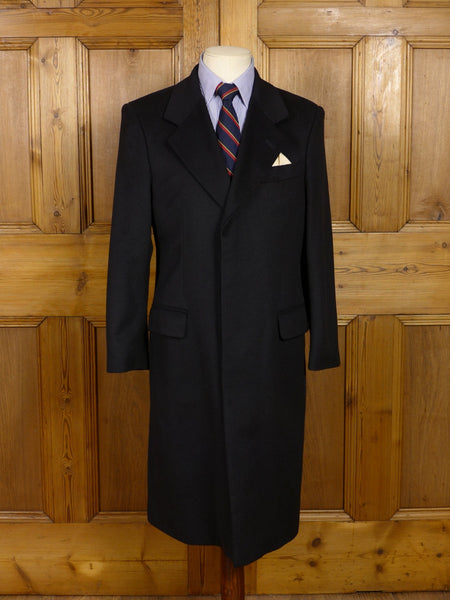 17/0859 (pt) immaculate patrick hellmann 100% cashmere black fly-front coat overcoat 37-38  short to regular