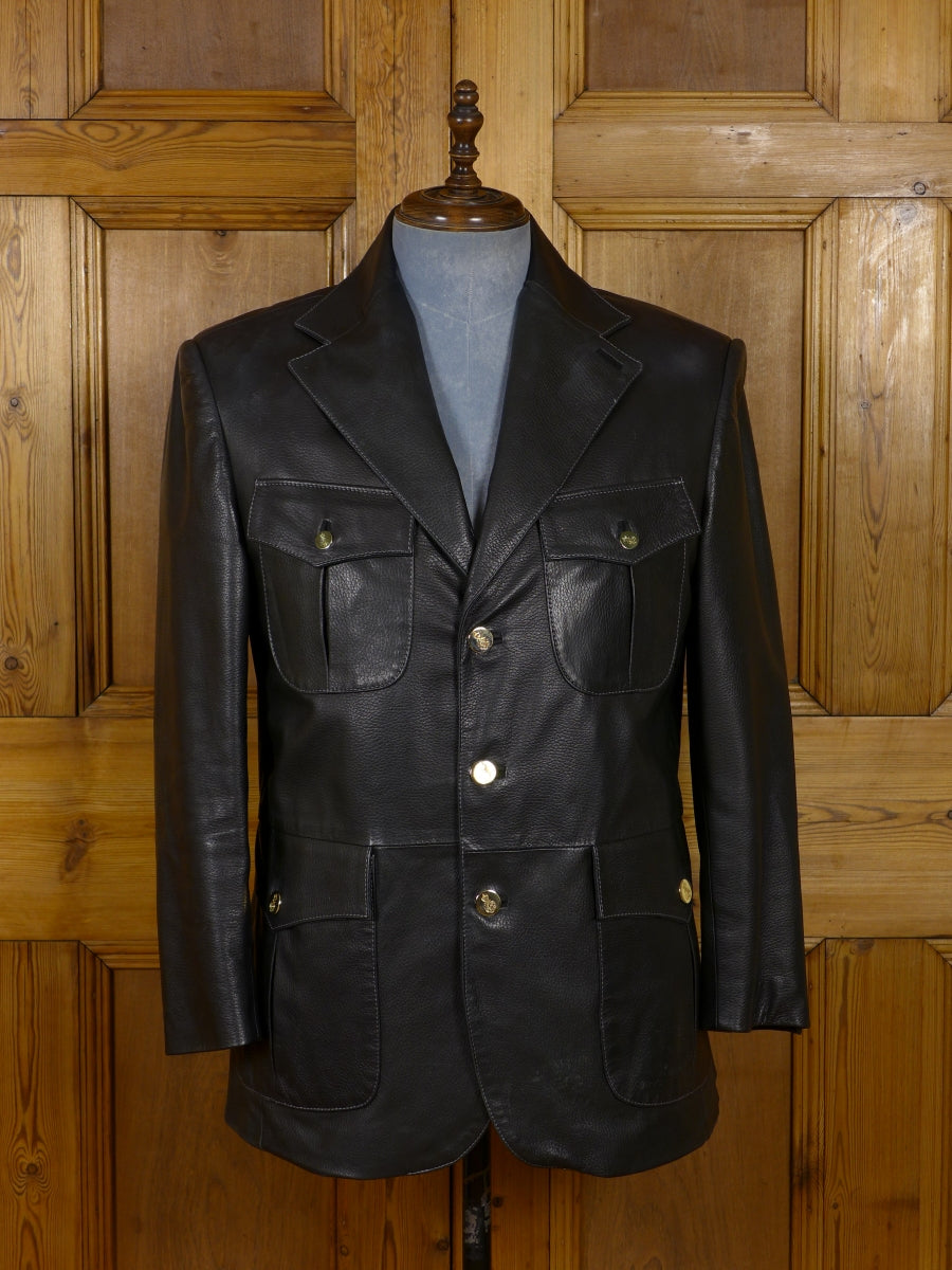 17/1808 (dc) stunning santarelli sartoria italian black leather sports jacket blazer w/ornate buttons 42 short