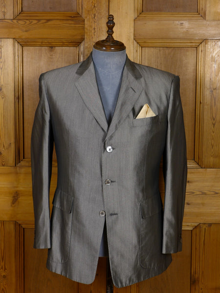 17/0895 (dc) vintage martin green d'avenza 100% silk silver fine herringbone blazer 41-42 short to regular