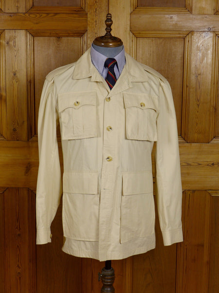 17/0901 immaculate per spook paris beige lightweight safari style cotton jacket 39-40