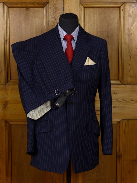 17/0903 superb vintage frank hall bespoke navy blue pin-stripe worsted 3-piece suit 34 regular