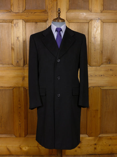 17/0905 (pt) superb 1976 hawkes savile row 100% pure cashmere black overcoat coat 42-43 regular