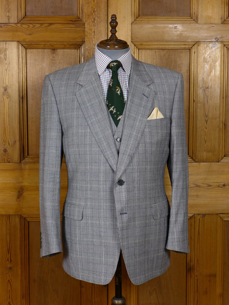 17/0907 vintage luxury italian wool glen plaid check suit / sports jacket & matching waistcoat 44-45 regular
