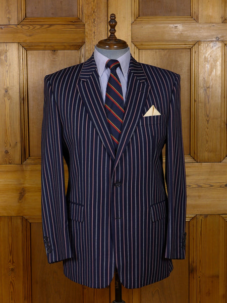 17/0908 (pt) immaculate quality modern blue striped boating blazer 42-43 regular to long