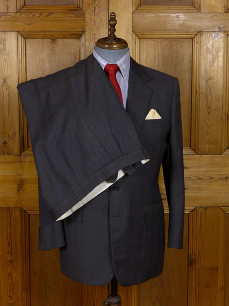 17/0916 (dc) 1998 kilgour savile row bespoke grey / blue prince of wales check worsted suit 41-42 short to regular