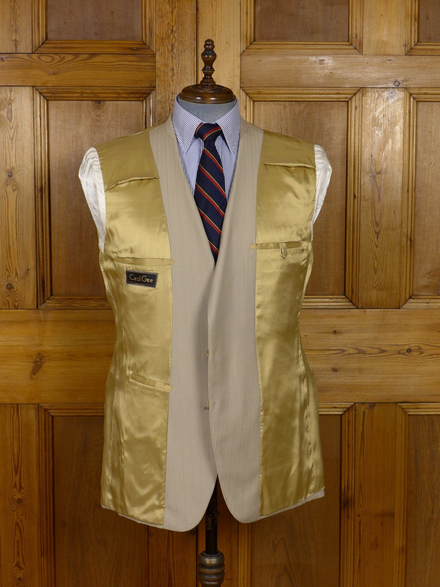 17/0923 (pt) wonderful 1980s vintage cecil gee pale brown pin-stripe italian wool suit 43-44 regular to long