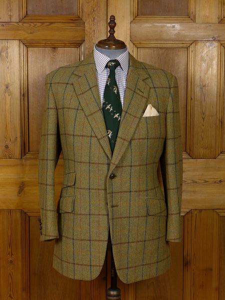 17/0900 vintage bespoke tailored heavyweight green wp check tweed jacket 43 regular to long