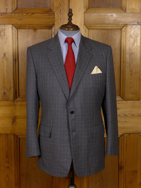 17/0929 immaculate chester barrie grey windowpane check wool sports jacket 44 regular