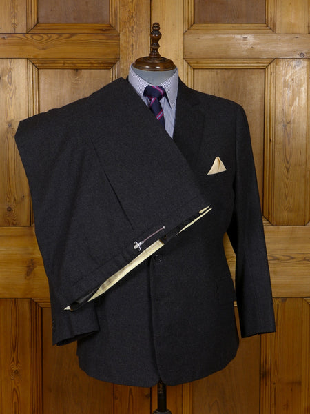 17/0933 vintage savile row  bespoke grey worsted flannel suit 45