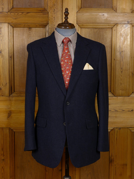 17/0936 immaculate modern gieves & hawkes savile row blue herringbone wool & 15% cashmere sports jacket 43 regular