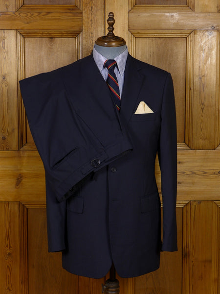 17/0939 ede & ravenscroft navy blue fine pin-stripe wool suit 40 long