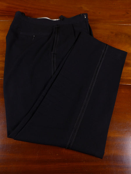 17/0948 (pt) 1940s 1950s vintage black barathea high-rise evening trouser 36 short regular