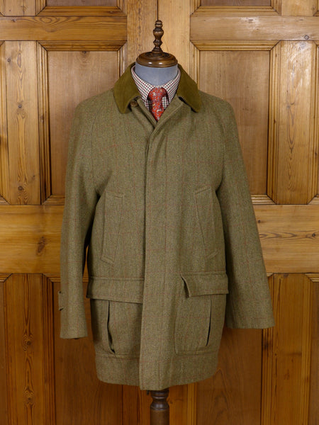 17/0951 vintage invertere heavyweight green wp check tweed field coat overcoat 40 short