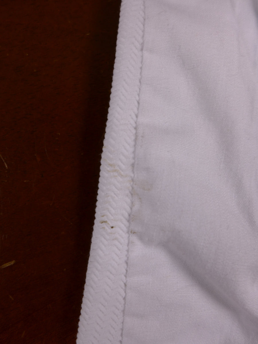 18/1179 wonderful vintage savile row bespoke white d/b evening tails waistcoat w/ back strap 34-35 short