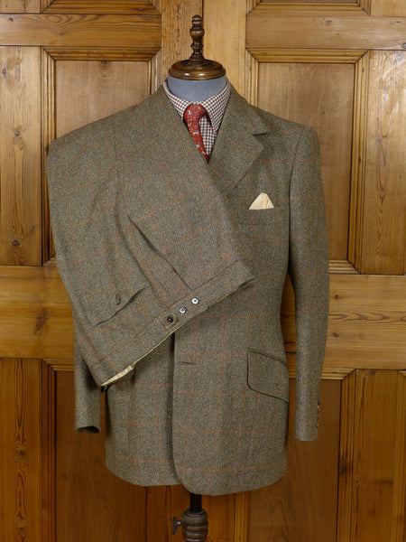17/0953 (dc) vintage sandon & co. savile row bespoke green / brown wp check 3-piece tweed suit 41 regular