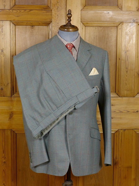 17/0957 (dc) exceptional 1981 vintage norton & sons savile row bespoke green / red wp check wool & mohair suit 40 regular