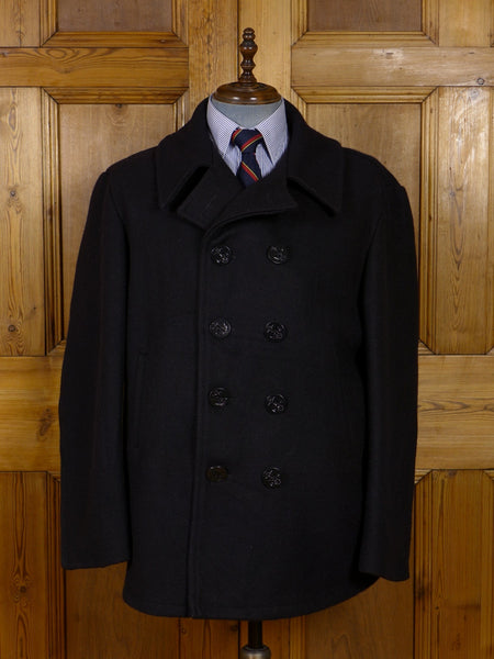 17/0969 genuine us issue dark navy blue heavyweight d/b wool pea coat w/ anchor buttons 50-52