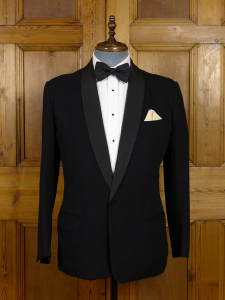 17/1122 vintage 1930s 1940s sandon & co. savile row bespoke black barathea wool grosgrain shawl dinner jacket 40 short