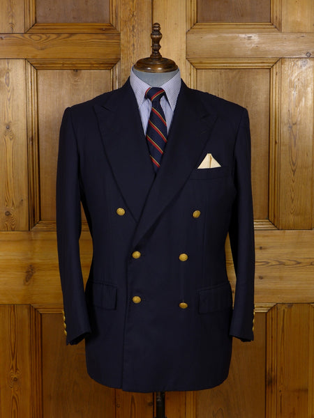 17/1023 (dc) vintage anderson & sheppard savile row bespoke navy blue d/b wool blazer 44 short to regular