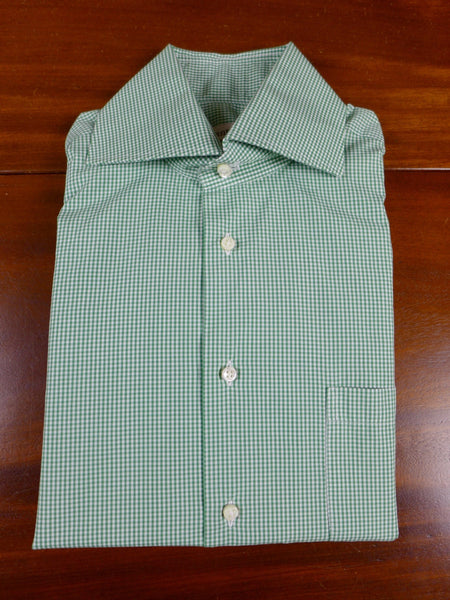 17/1086 santarelli sartoria luxury cotton green gingham double cuff shirt 17 short