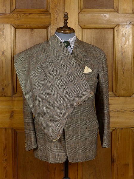 17/1077 (dc) vintage 1959 anderson & sheppard savile row bespoke brown / amber prince of wales check 3-piece worsted flannel suit 40-41 short