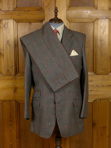 17/1079 vintage savile row bespoke green / red gun club check 3-piece heavyweight tweed suit 42-43 long