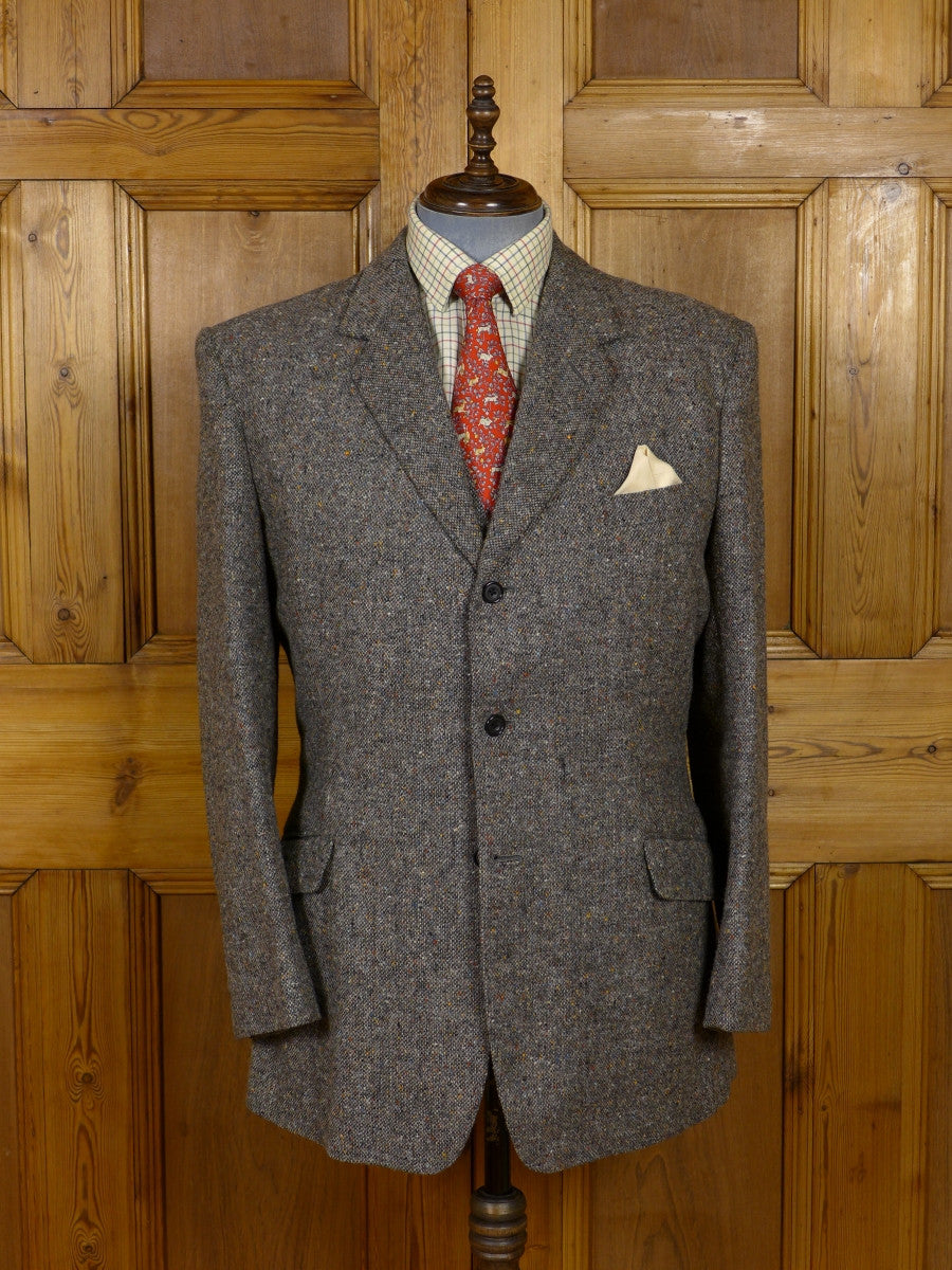 17/1080 (dc) immaculate vintage savile row bespoke grey donegal weave 3-piece heavyweight tweed suit 42-43 long
