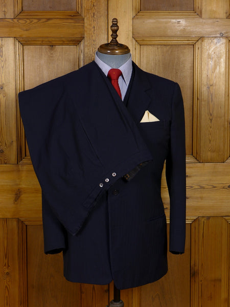 17/1289 vintage savile row bespoke navy blue textured stripe 3-piece worsted suit 41-42 short