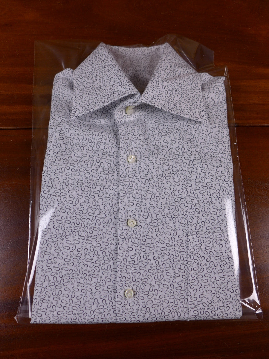 17/1089 santarelli sartoria luxury cotton white / black paisley double cuff shirt 16 short