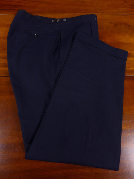 17/1104 vintage bespoke tailored navy blue stripe worsted trouser 34 short regular