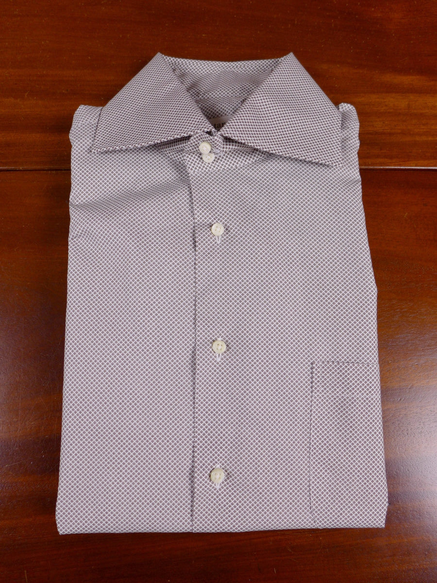 17/1094 santarelli sartoria luxury cotton white / brown micro-pattern double cuff shirt 16.5 short
