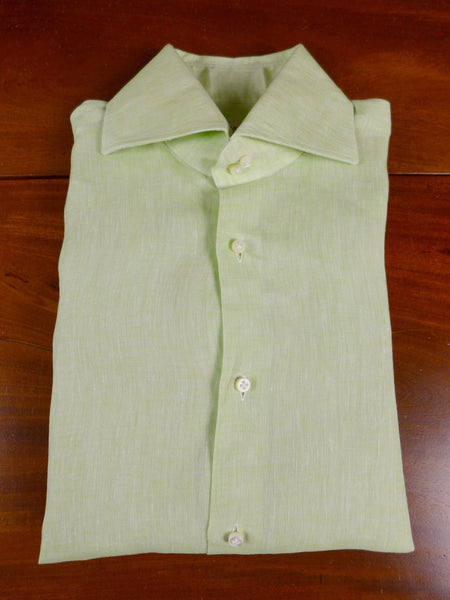 17/1188 santarelli sartoria luxury linen green double cuff shirt 17 short