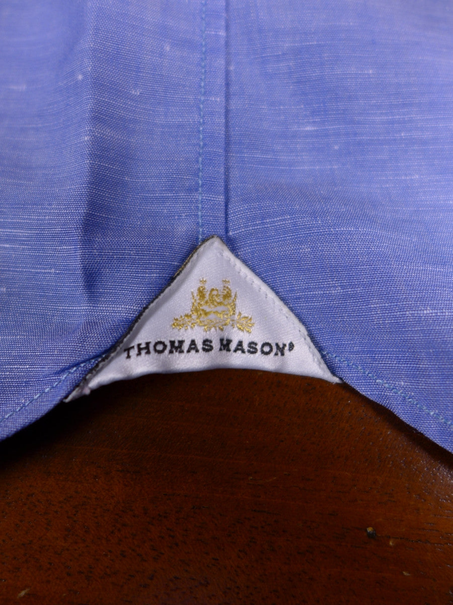 17/1177 santarelli sartoria luxury cotton blue double cuff shirt 17 short