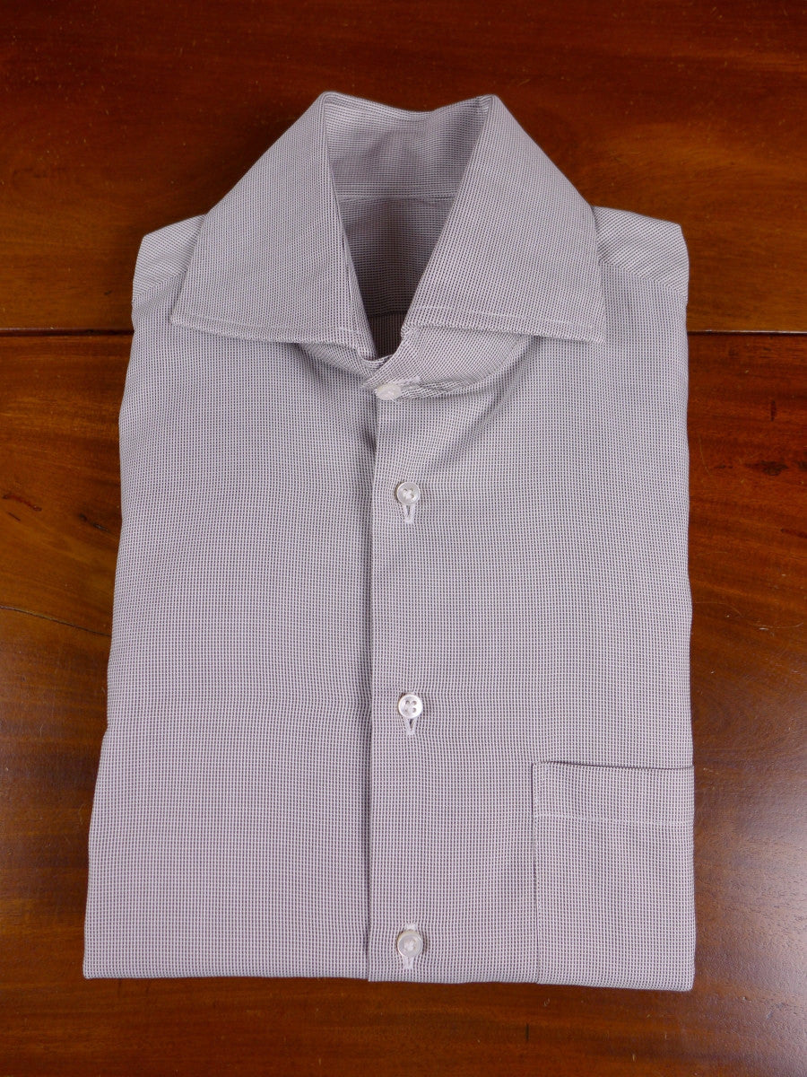 17/1187 santarelli sartoria luxury cotton grey double cuff shirt 17.5 short
