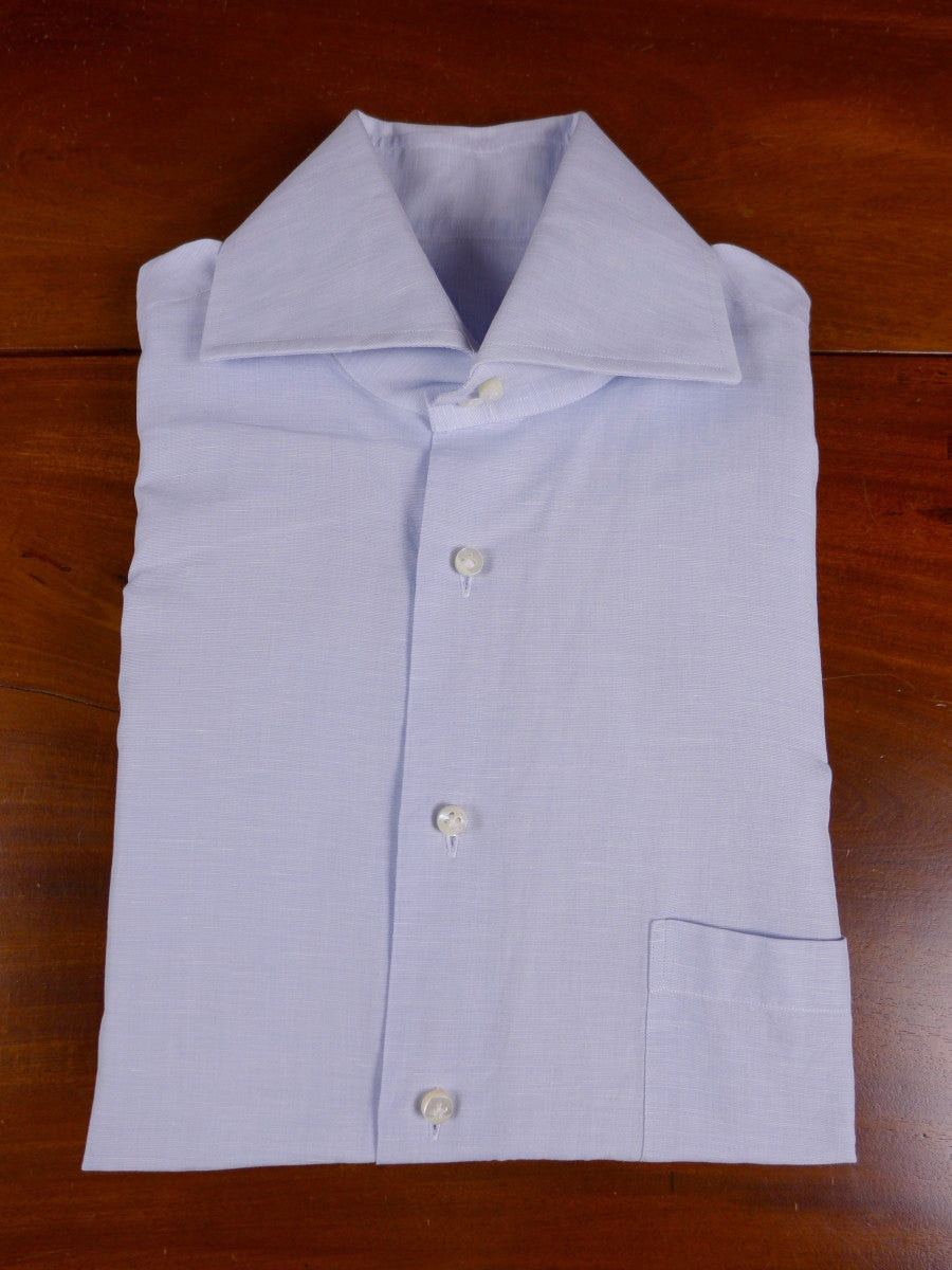 17/1196 santarelli sartoria luxury cotton blue double cuff shirt 16.25 short