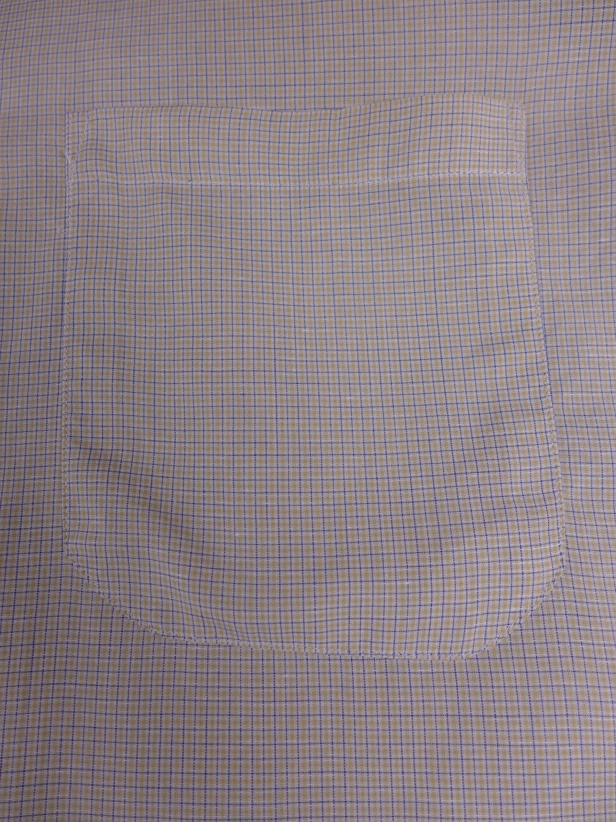 17/1199 santarelli sartoria luxury cotton yellow / blue check double cuff shirt 17.5 short