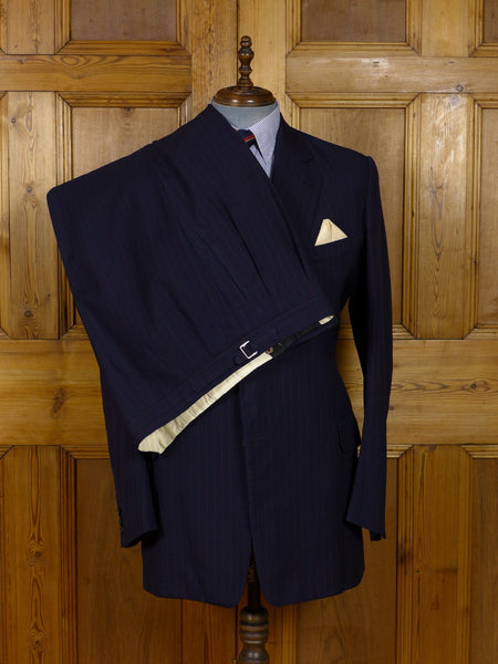 17/1221 vintage savile row bespoke heavyweight worsted navy blue / red rope-stripe suit 44 extra long