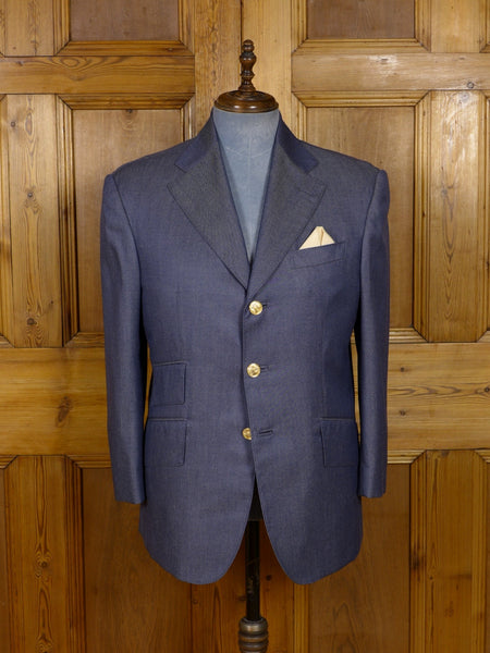 17/1150 (dc) santarelli sartoria dormeuil luxury pure cashmere blue sports jacket blazer 42 short